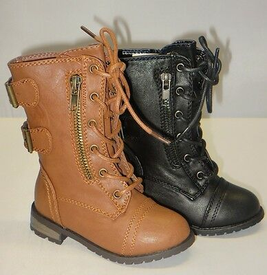 Girl Military Boots Lace- Up Boots Ankle Boots  (mango61ka) TODDLER Black Tan