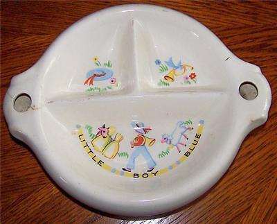 1940s ANTIQUE LITTLE BOY BLUE BABY/CHILD'S DIVIDED WARMING DISH/PLATE