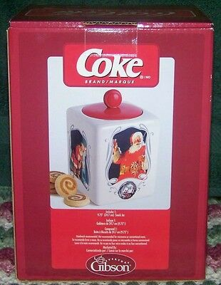 NOS 2006 GIBSON 9.75 COCA-COLA 75th ANNIVERSARY SANTA BISCUIT/SNACK/COOKIE JAR