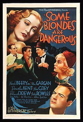 SOME BLONDES ARE DANGEROUS * CineMasterpieces MOVIE POSTER BAD GIRL BLONDE 1937