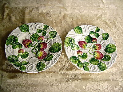 "Vintage Pair Of 8 1/4"" Strawberry Plates Made In Italy"