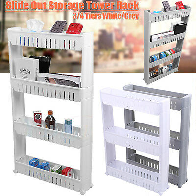 Slide Out Storage Tower 3/4 Tier Rolling Castor Organise Kitchen Trolley Rack