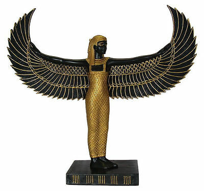 Egyptian Statue Black Isis Ancient Winged Mother Goddess Pagan Altar Icon  #1299