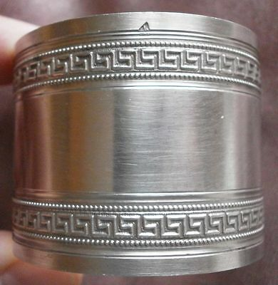 Rond de serviette argent massif frise à l' antique - Sterling silver napkin ring