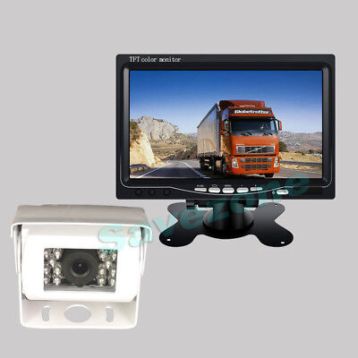 """White 18LED IR CCD Reversing Camera + 7"""" LCD Monitor Car Rear View Kit+10m Cable"""