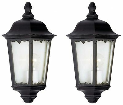 2 x Powermaster 3 Sided Half Wall Lantern Security Light Black IP44 Rated