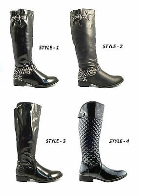 Womens Ladies New Knee High Zip Up Black Riding Block Heel Boots Shoes Size