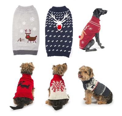 Ancol Reindeer Snowflake Knit Sweater Christmas Xmas Festive Novelty Dog Jumper