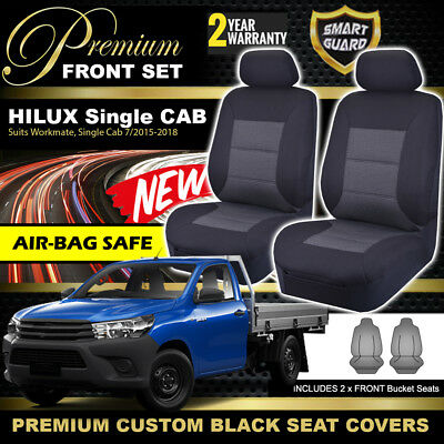 Premium BLACK Seat Covers for TOYOTA HILUX SINGLE CAB WORKMATE SR 7/2015-2018