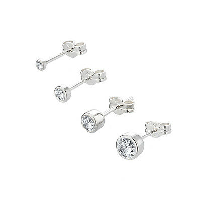 EINZEL Ohrstecker 925er Sterlingsilber Cubic Zirkonia DAMEN HERREN KINDER SINGLE
