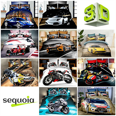3D Effect Photo Car Motorbike Bedding Set - Duvet Cover Pillow Cases  1:1 Scale