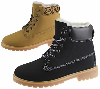 Womens Fur Lined Boots Winter Warm Combat Hiking Work High Top Ankle Shoes Size