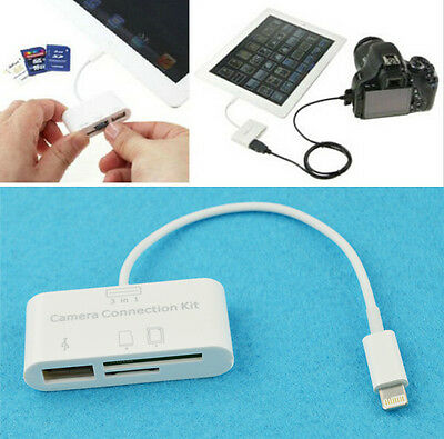 3 in 1 USB Camera Connection Kit Memory Card Reader For iPad 4/Mini/Air/iOS 9 t