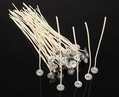 50PCS CANDLE WICKS Pretabbed 6-inch Cotton CORE Lots of Candle Making