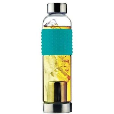 Ice Tea Infuser Glass Bottle - Teal | glass Ice Hot Drink Resistant Portable Dri