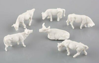 100pcs 1:87 UnPainted White Farm Animals Cows HO Scale Various Poses New