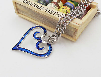 Unsix Anime Kingdom Hearts Crown Necklace Blue Heart Pendant Cosplay New 1PC