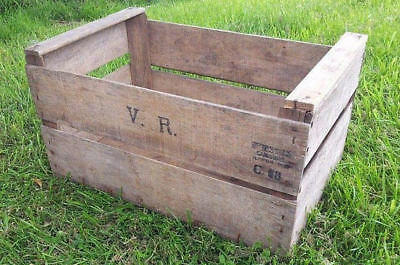 - Vintage Wooden French Apple Fruit Crates Rustic Old Bushel Box Shabby Chic -