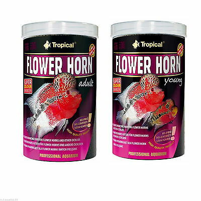 Flower Horn Pellet Food For Adults & Young Fish Genuine Tubs