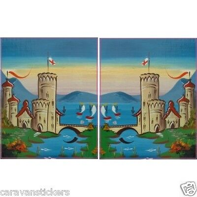 Castle Scene Narrowboat Stickers Decals Graphics PORTRAIT STYLE 2 - PAIR