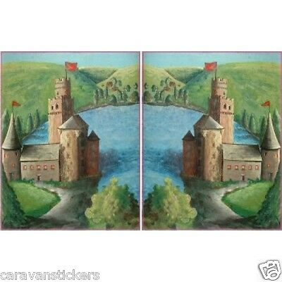 Castle Scene Narrowboat Stickers Decals Graphics PORTRAIT STYLE 4 - PAIR