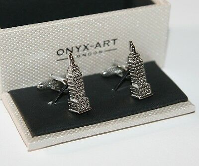 Mens Novelty Cufflinks - Empire State Building Design - *Boxed* New