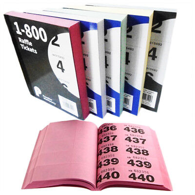 1- 800 Raffle Ticket Book Cloakroom Tombola Bingo Duplicate Draw Numbered Color