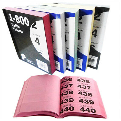 5 Colour Raffle Books 1-800 Tickets with Duplicate Number Low Price Cloakroom