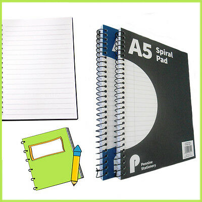 A5 Spiral Pads Water Resistant School College Ruled Book Notebook Stationery NEW