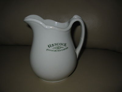 Vintage O.P.Co Syracuse China Ware Advertising Pitcher Hancock Associated Lodges