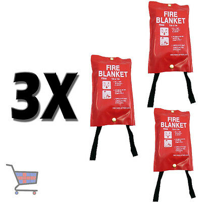 3X Red Case 1M X 1M Fire Blankets for Office / Shop / Kitchen / House Etc