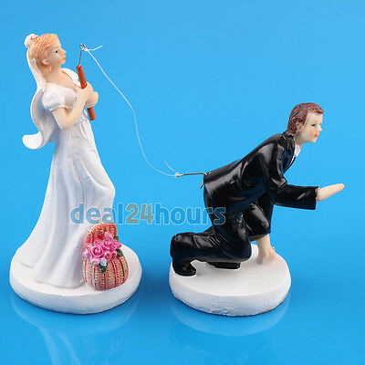 Funny Bride and Groom Fishing Wedding Cake Topper Decoration Resin Figurine