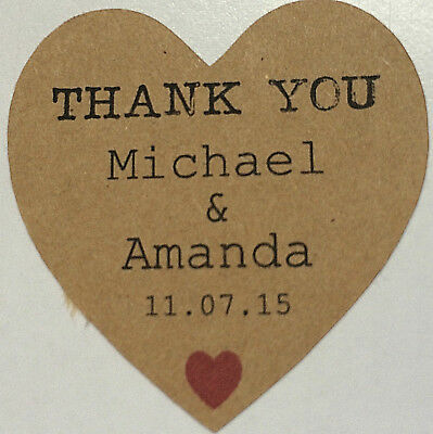 100 x Personalised Wedding Kraft Favour Stickers Labels Seals Heart Thank you