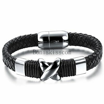 Charm Love Infinity Braided Leather Stainless Steel Magnetic Men's Bracelet Cuff
