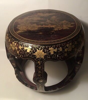 Antique Chinese Gilt Black Lacquer Stool Table Stand Free Shipping