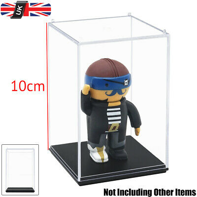 "UK Acrylic Display Case Box Clear Perspex Plastic Base 3.9""H Dustproof Figure"