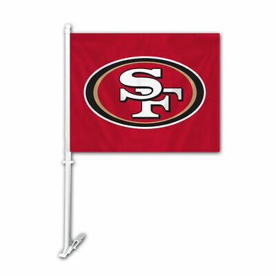 NFL San Francisco 49ers Car Auto Flag Banner & Pole 2 sided-Red