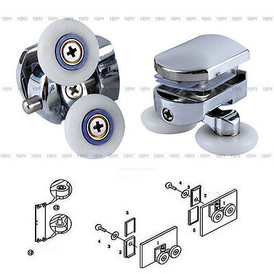 2 x Twin Bottom Zinc Alloy Shower Door Rollers Runners Wheels 26mm Wheel