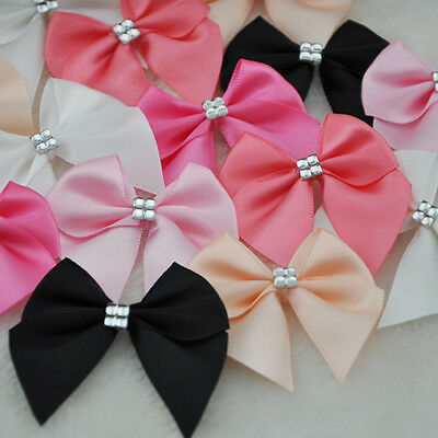 40pcs Ribbon Bows Flower the Rhinestone Appliques Sewing Craft Lots E227