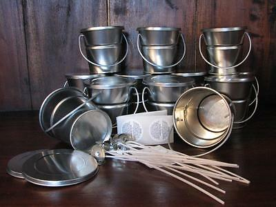 12 Tin Baby Buckets Candle Making Kit Supplies + Wicks, Stickums, Warning Labels