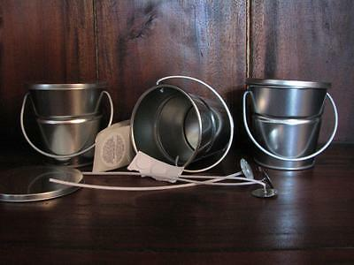 3 Tin Baby Buckets Candle Making + 3 Wicks + 3 Stickums + 3 Warning Labels