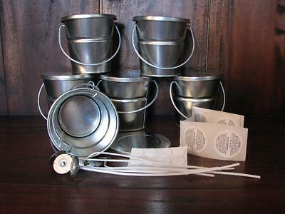 6 Tin Baby Buckets Candle Making Kit Supplies + Wicks, Stickums, Warning Labels