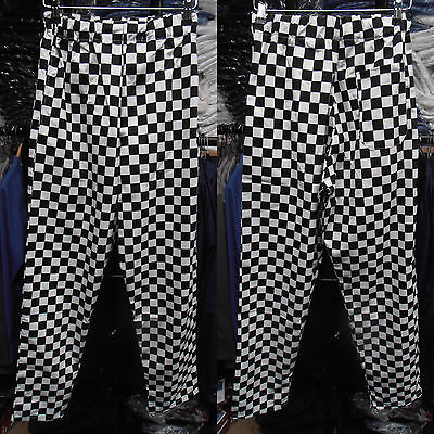 Unisex White & Black Check Chef Trousers – Extra Small to XXL Sizes