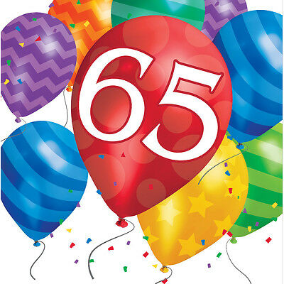 65th Birthday Party Napkins Age 65 tableware Paper Serviettes FREE P&P