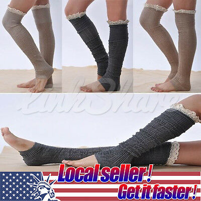 US LOCAL Women Leg Warmers Crochet Knit Cotton Lace Knee High Boot Socks Legging