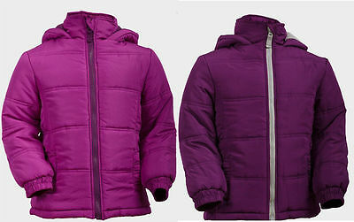 Girls Pink Purple Padded Jacket Coat with Hood age 4/5  12/13 WINTER SCHOOL