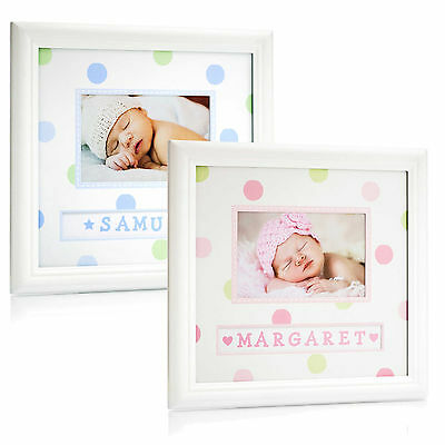 Pearhead Baby Photograph Frame Personalised with First Name Baby Gift Pink Blue
