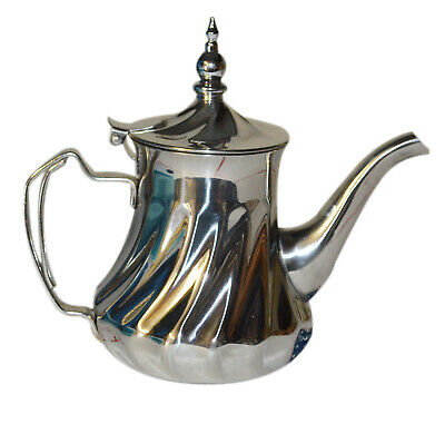 Moroccan Tea Pot Serving Large 48 oz Mint Green  Kettle Silver Stainless steel