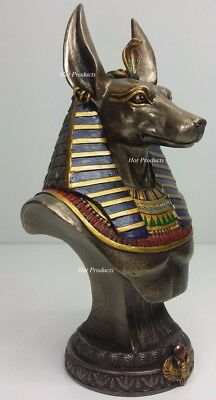 Egyptian Anubis Jackal Bust on Plinth Statue Sculpture Antique Bronze Color