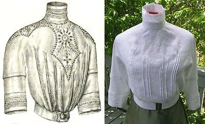 Antique Pattern for Elegant 1912 Ladies French Edwardian Blouse--MEDIUM Sz only